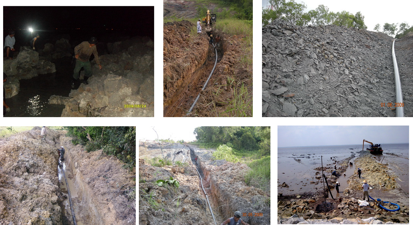 shore end work - trenching,install hdpe duct, beach manhole and shelter